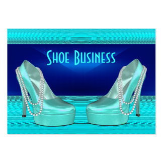 Shoe Business Card Black Bright Teal Blue