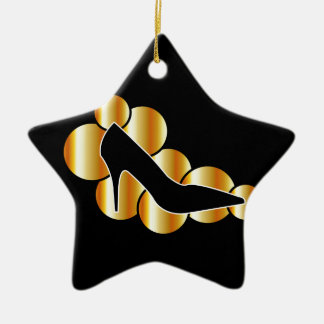 Shoe graphic with golden circles christmas ornaments