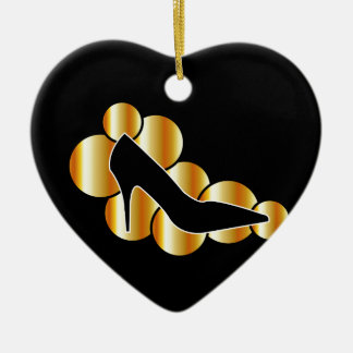 Shoe graphic with golden circles ceramic heart decoration