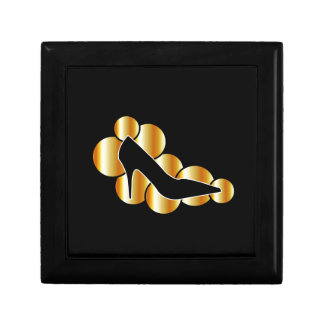 Shoe graphic with golden circles keepsake boxes
