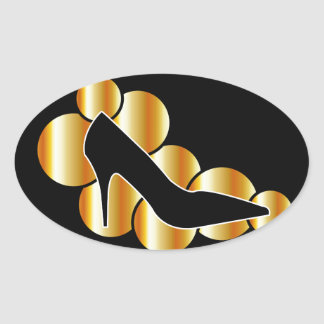 Shoe graphic with golden circles oval sticker