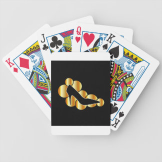 Shoe graphic with golden circles playing cards