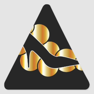 Shoe graphic with golden circles sticker