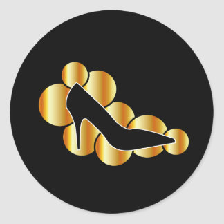 Shoe graphic with golden circles round sticker