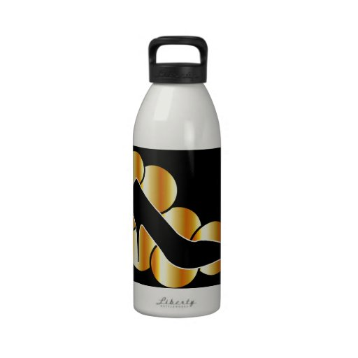 Shoe graphic with golden circles drinking bottle
