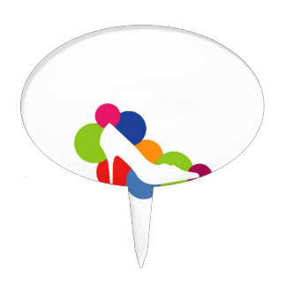 Shoe on colorful circles cake topper