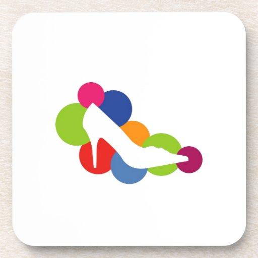 Shoe on colorful circles beverage coaster