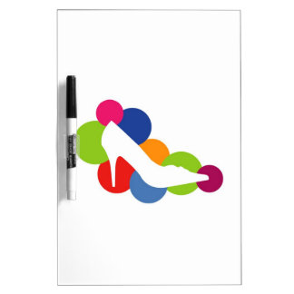 Shoe on colorful circles dry erase whiteboard