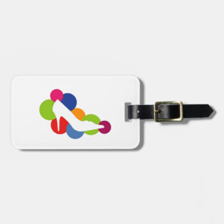 Shoe on colorful circles luggage tags