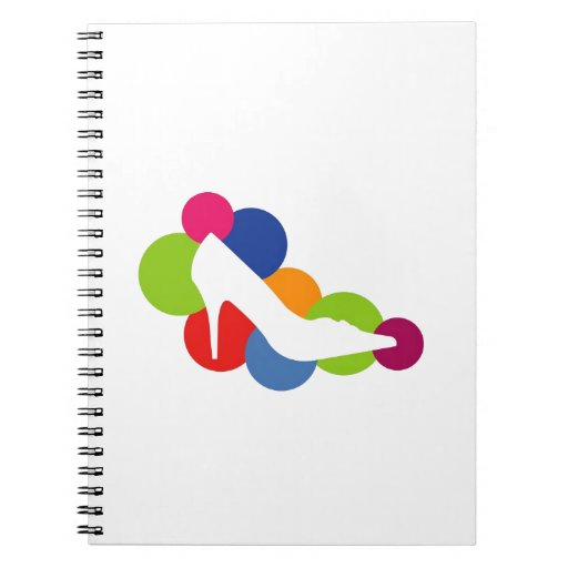 Shoe on colorful circles note book