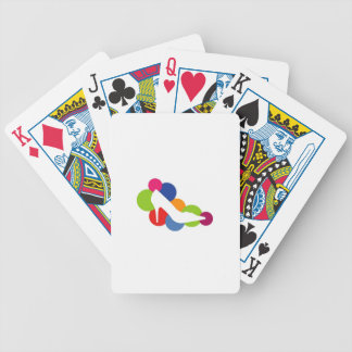 Shoe on colorful circles playing cards