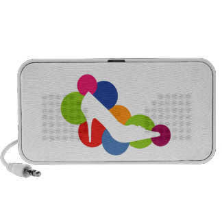 Shoe on colorful circles notebook speakers
