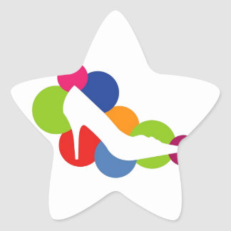 Shoe on colorful circles star sticker