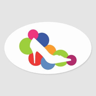 Shoe on colorful circles oval stickers