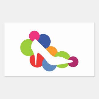 Shoe on colorful circles rectangular sticker