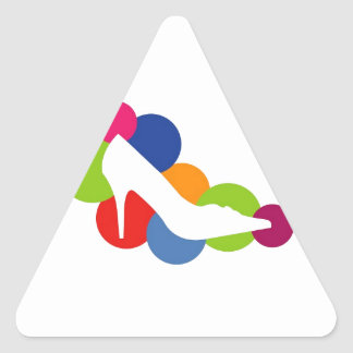 Shoe on colorful circles triangle sticker