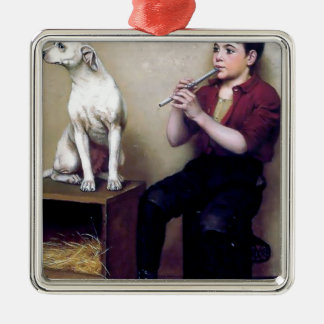 Shoe shine Boy playing flute and his Dog Ornament