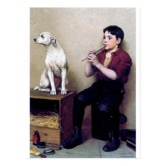 Shoe shine Boy playing flute and his Dog