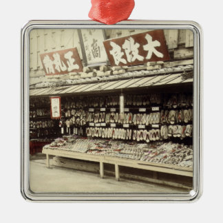 Shoe shop in Kyoto, c.1890 (hand-coloured photo) Christmas Ornament