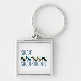 shoe shopaholic Silver-Colored square key ring
