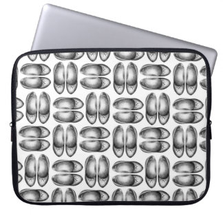 Shoe shopping design, pencil drawn, grey shoes laptop sleeve