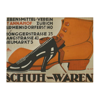 'Shoe Shops', Zurich (colour litho) Wood Wall Decor