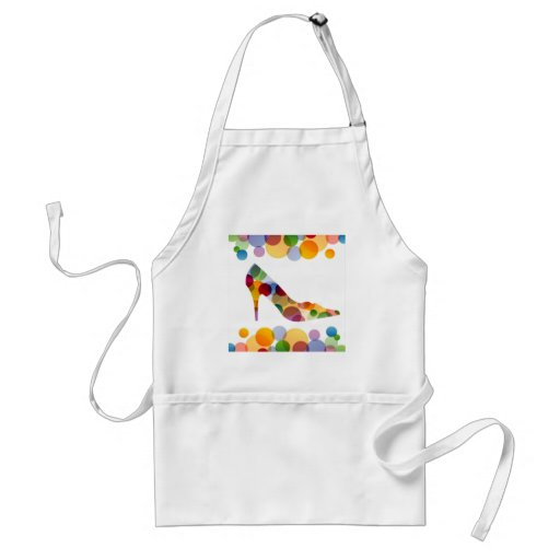 Shoe with colorful circles apron