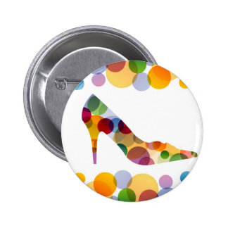 Shoe with colorful circles button