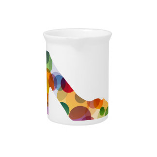 Shoe with colorful circles beverage pitchers