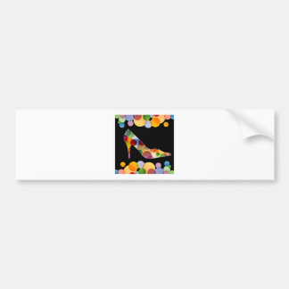 Shoe with colorful circles car bumper sticker