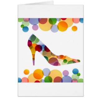 Shoe with colorful circles greeting cards