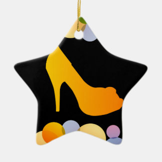 Shoe with colorful circles ceramic star decoration