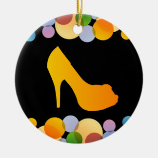 Shoe with colorful circles christmas ornament