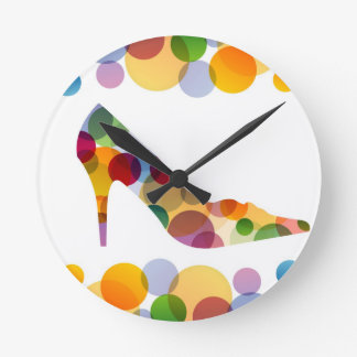 Shoe with colorful circles round clock