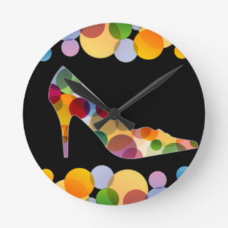 Shoe with colorful circles wall clock