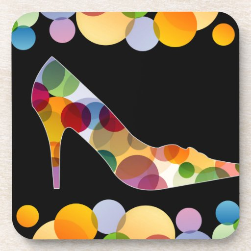 Shoe with colorful circles beverage coaster