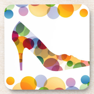 Shoe with colorful circles drink coaster