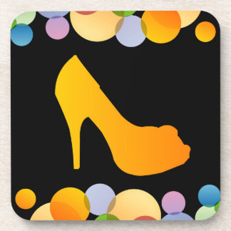 Shoe with colorful circles coasters