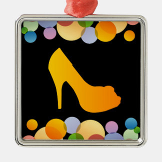 Shoe with colorful circles square metal christmas ornament