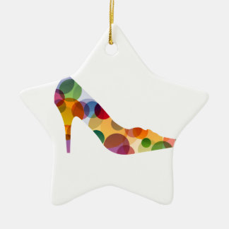 Shoe with colorful circles Double-Sided star ceramic christmas ornament