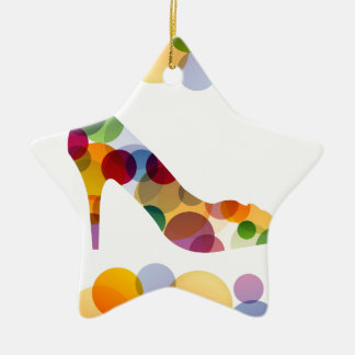 Shoe with colorful circles christmas tree ornament