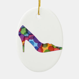 Shoe with colorful circles Double-Sided oval ceramic christmas ornament
