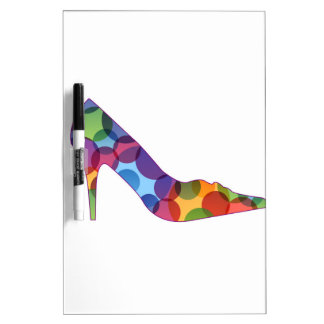 Shoe with colorful circles dry erase white board