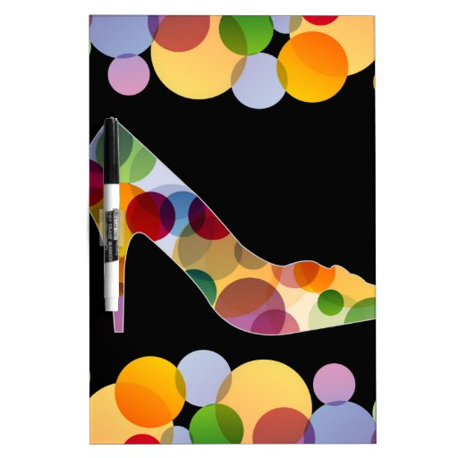 Shoe with colorful circles dry erase whiteboards