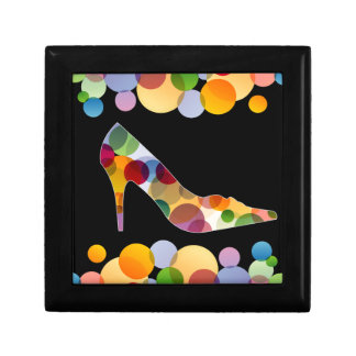Shoe with colorful circles gift boxes