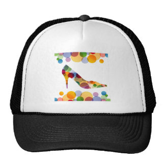 Shoe with colorful circles hats