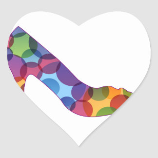 Shoe with colorful circles heart sticker