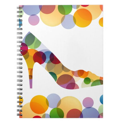 Shoe with colorful circles spiral notebook