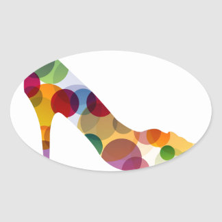 Shoe with colorful circles oval sticker