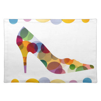 Shoe with colorful circles place mats
